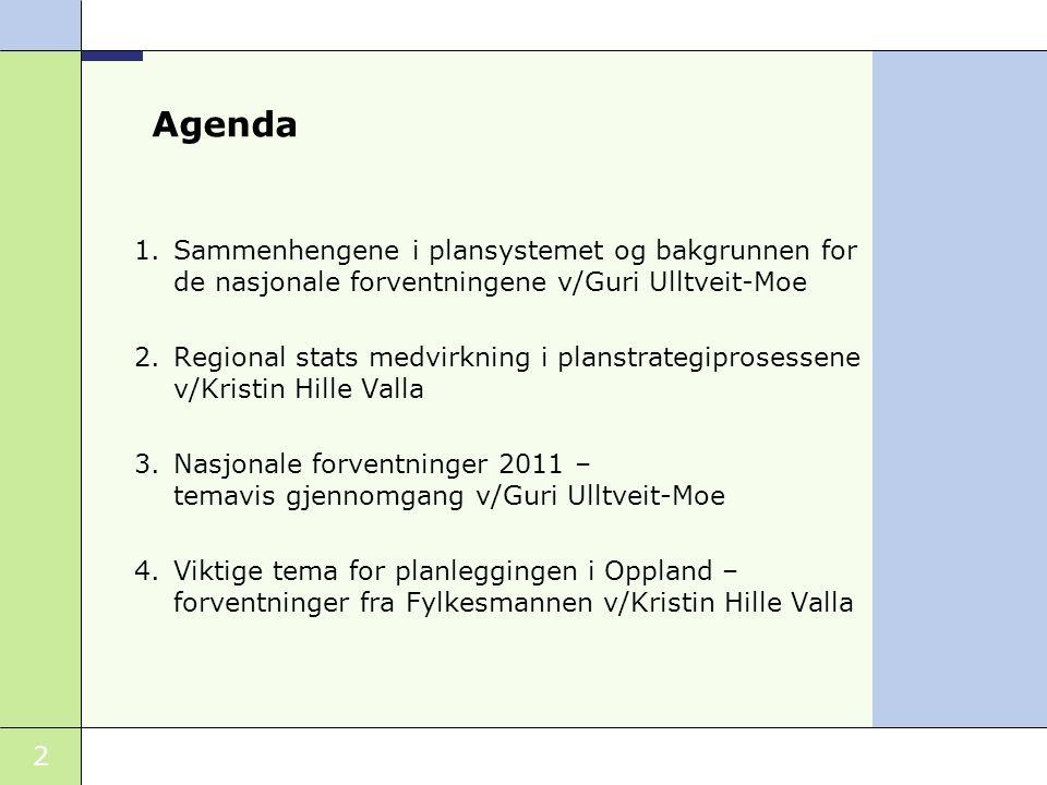 Agenda Sammenhengene i plansystemet og bakgrunnen for de nasjonale forventningene v/Guri Ulltveit-Moe.