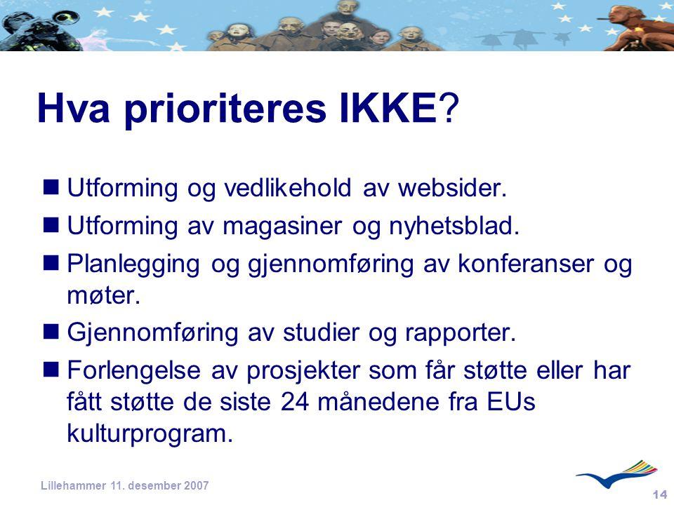 Hva prioriteres IKKE Utforming og vedlikehold av websider.