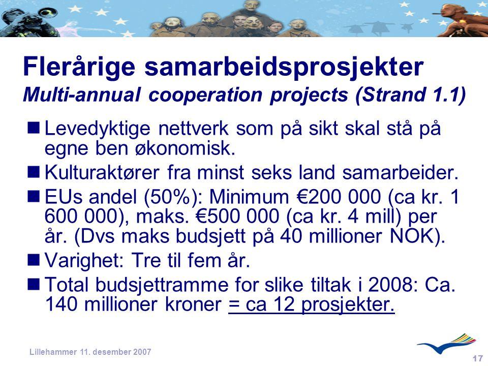 Flerårige samarbeidsprosjekter Multi-annual cooperation projects (Strand 1.1)