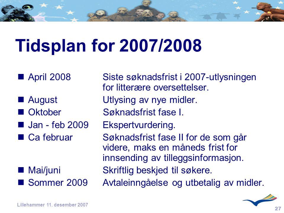 Tidsplan for 2007/2008 April 2008 Siste søknadsfrist i 2007-utlysningen for litterære oversettelser.