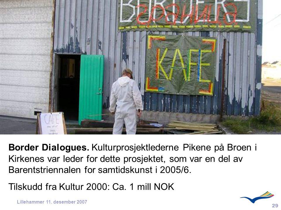 Tilskudd fra Kultur 2000: Ca. 1 mill NOK
