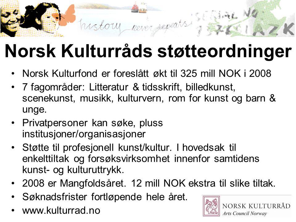 Norsk Kulturråds støtteordninger