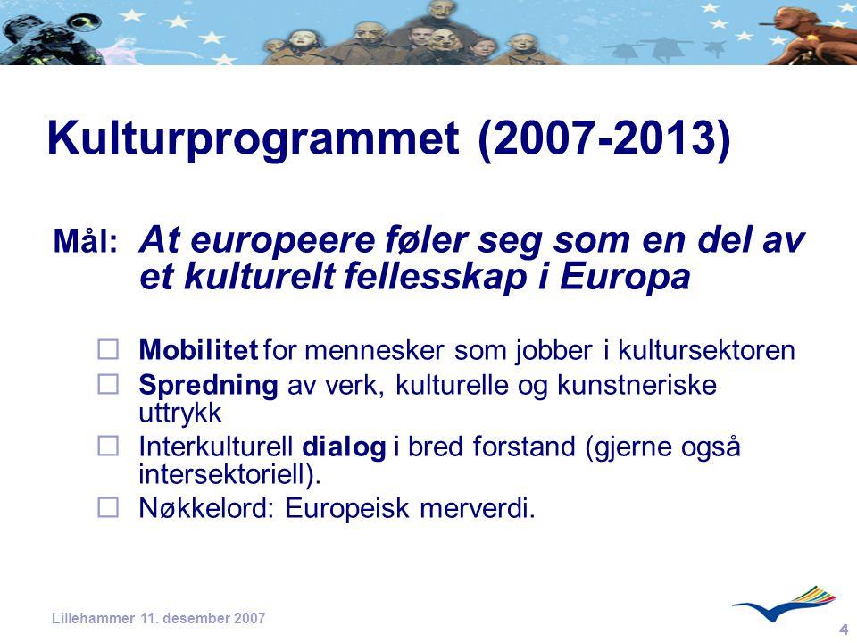 Kulturprogrammet (2007-2013) Mål: At europeere føler seg som en del av et kulturelt fellesskap i Europa.