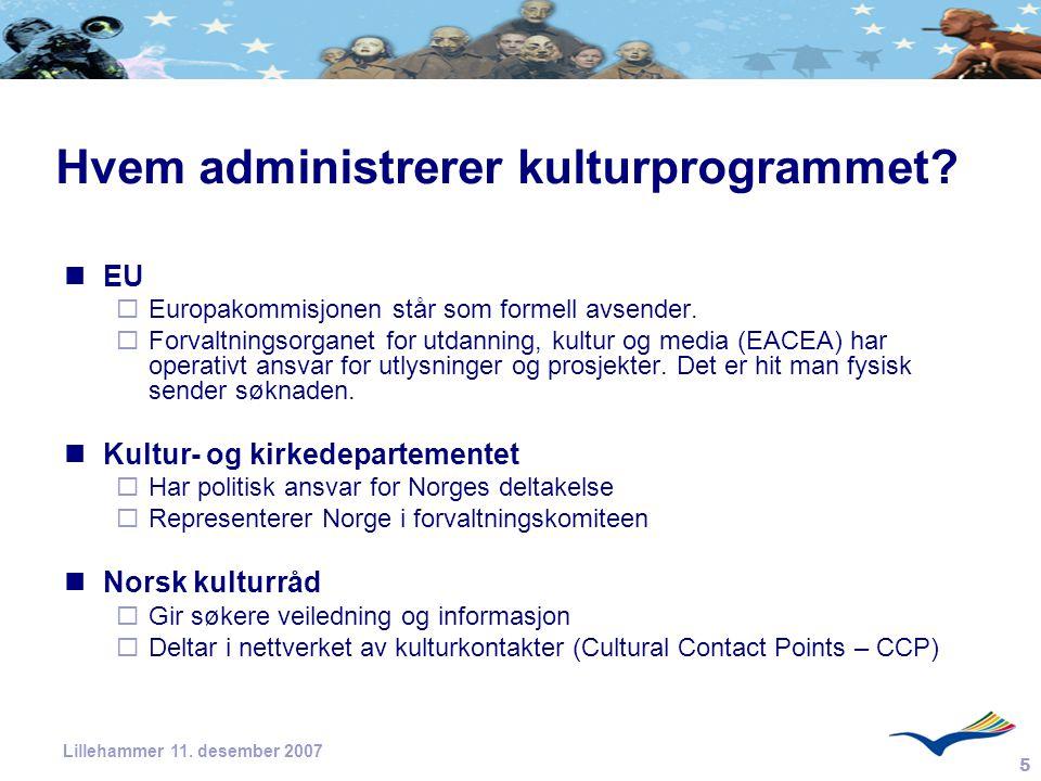 Hvem administrerer kulturprogrammet