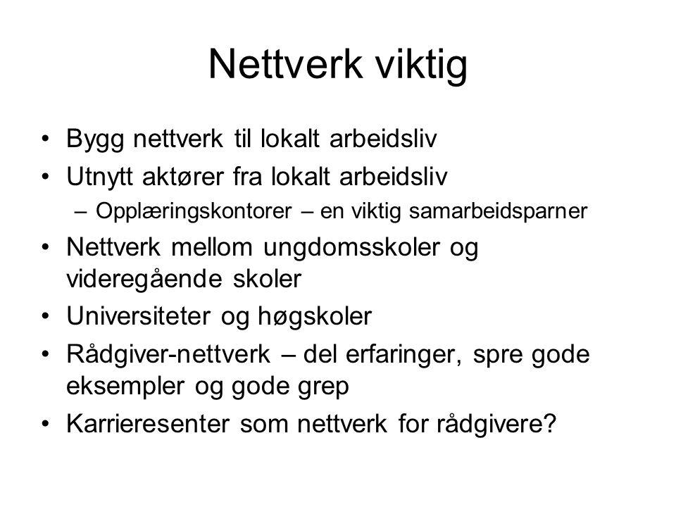 Nettverk viktig Bygg nettverk til lokalt arbeidsliv