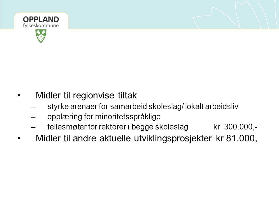 Midler til regionvise tiltak