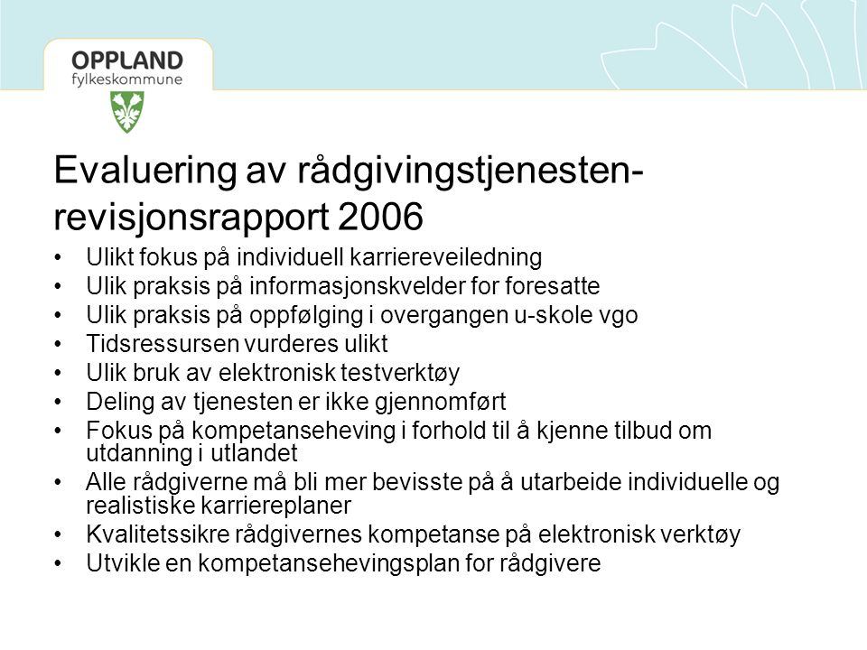 Evaluering av rådgivingstjenesten-revisjonsrapport 2006