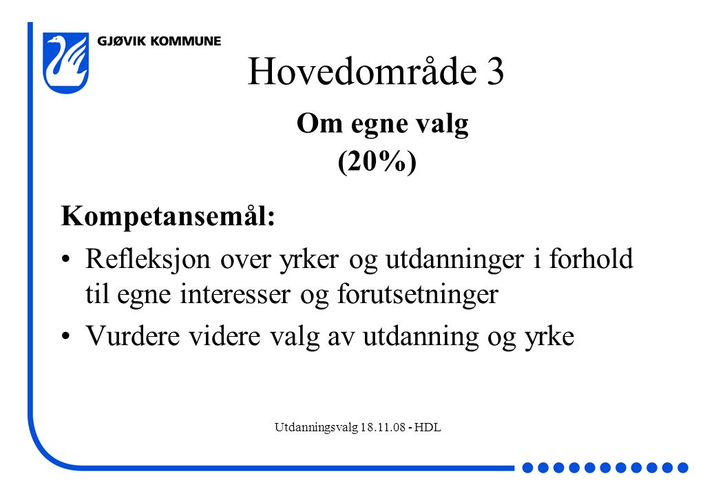 Hovedområde 3 Om egne valg (20%)