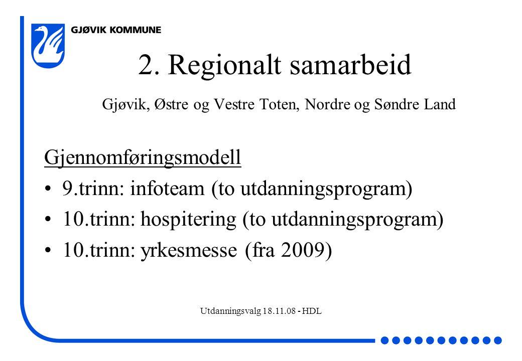 2. Regionalt samarbeid Gjøvik, Østre og Vestre Toten, Nordre og Søndre Land