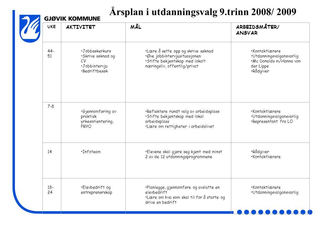 Årsplan i utdanningsvalg 9.trinn 2008/ 2009