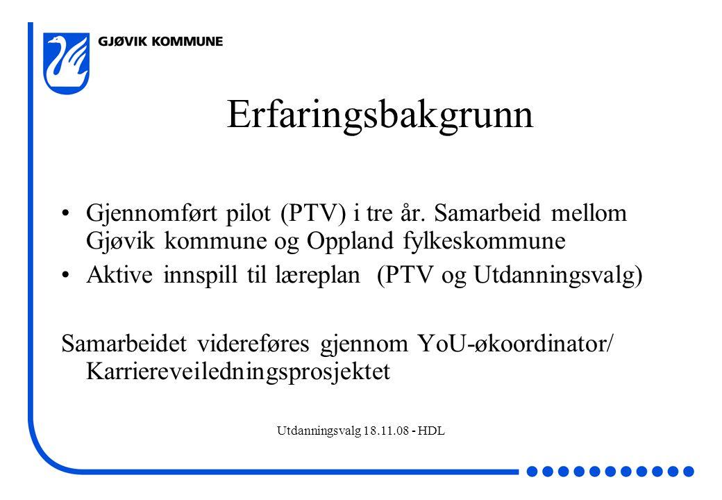Erfaringsbakgrunn Gjennomført pilot (PTV) i tre år. Samarbeid mellom Gjøvik kommune og Oppland fylkeskommune.