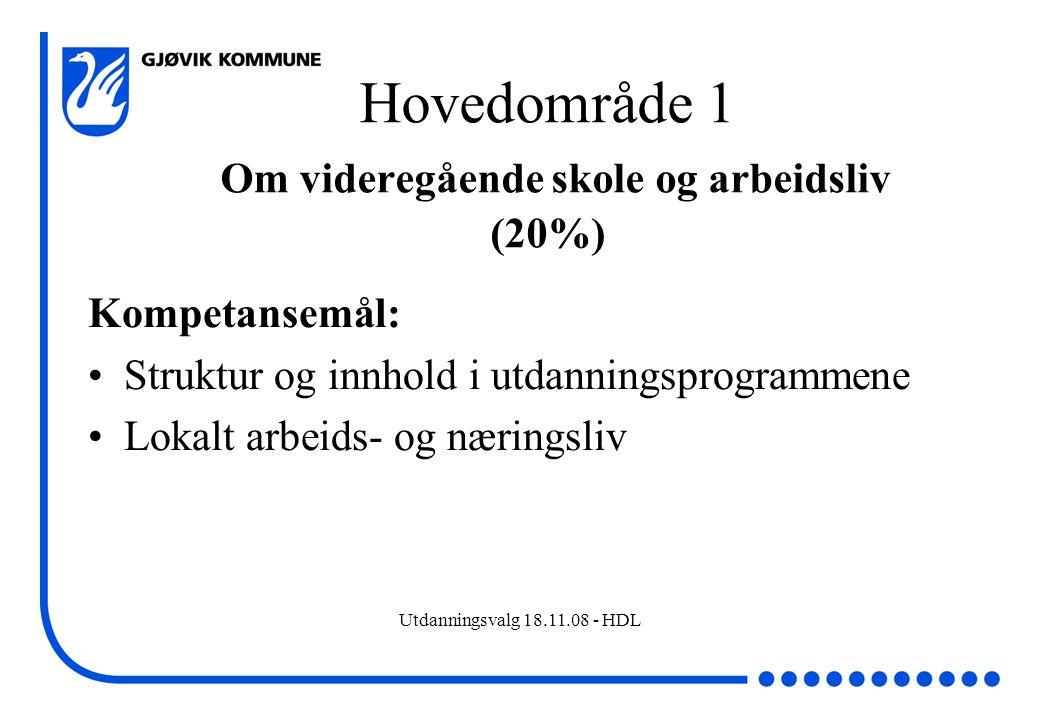 Hovedområde 1 Om videregående skole og arbeidsliv (20%)