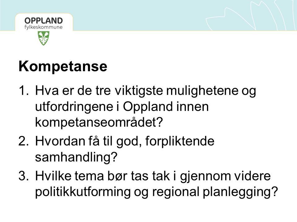 Kompetanse Hva er de tre viktigste mulighetene og utfordringene i Oppland innen kompetanseområdet Hvordan få til god, forpliktende samhandling