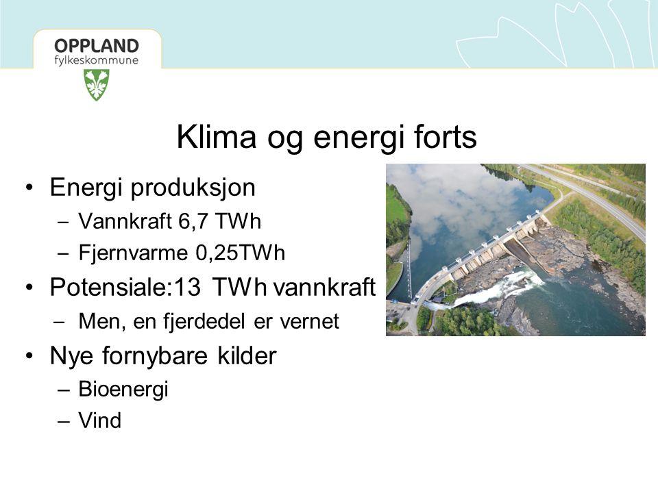Klima og energi forts Energi produksjon Potensiale:13 TWh vannkraft