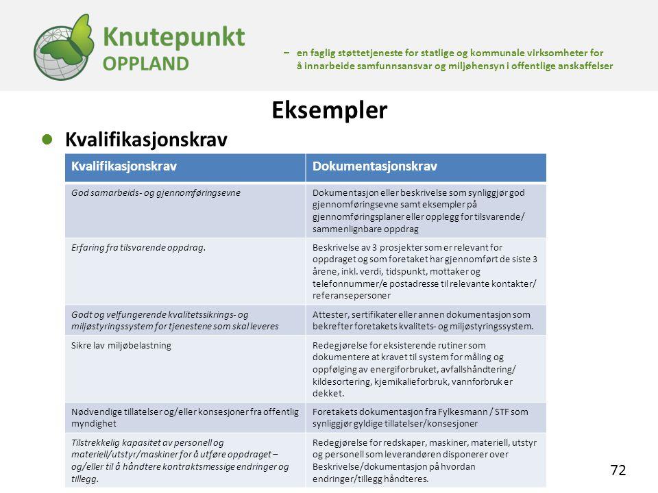 Eksempler Kvalifikasjonskrav Kvalifikasjonskrav Dokumentasjonskrav