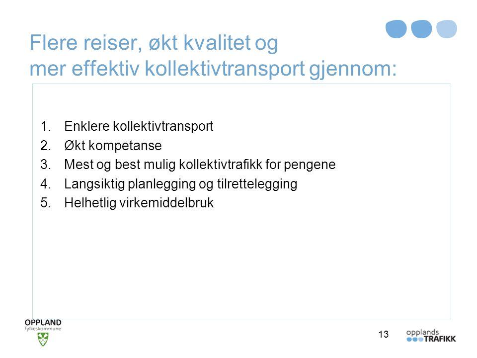Flere reiser, økt kvalitet og mer effektiv kollektivtransport gjennom: