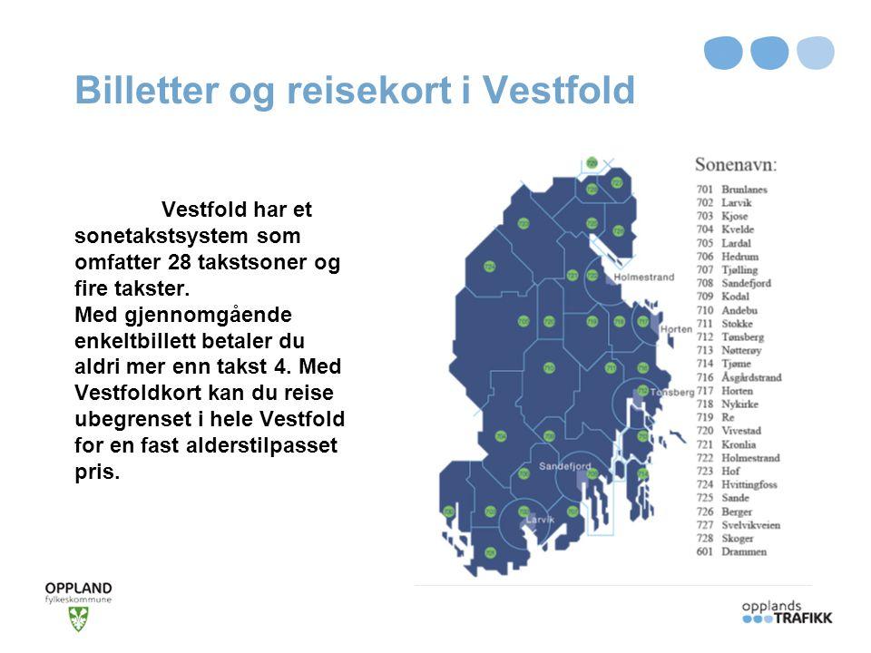 Billetter og reisekort i Vestfold