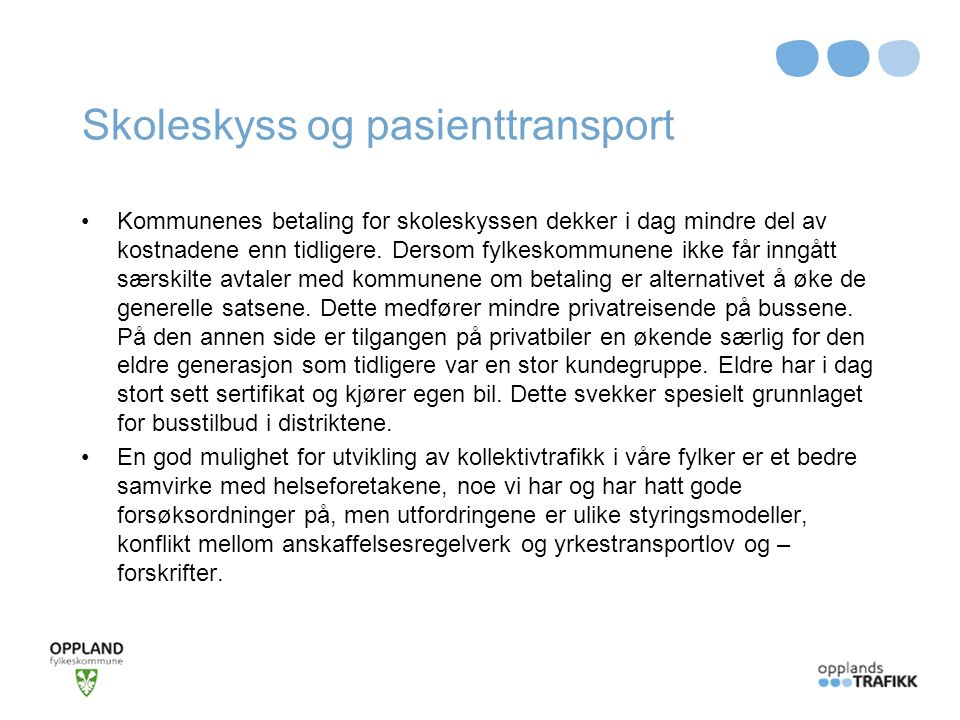 Skoleskyss og pasienttransport