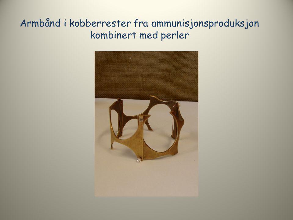 Armbånd i kobberrester fra ammunisjonsproduksjon kombinert med perler