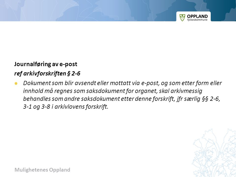 Journalføring av e-post