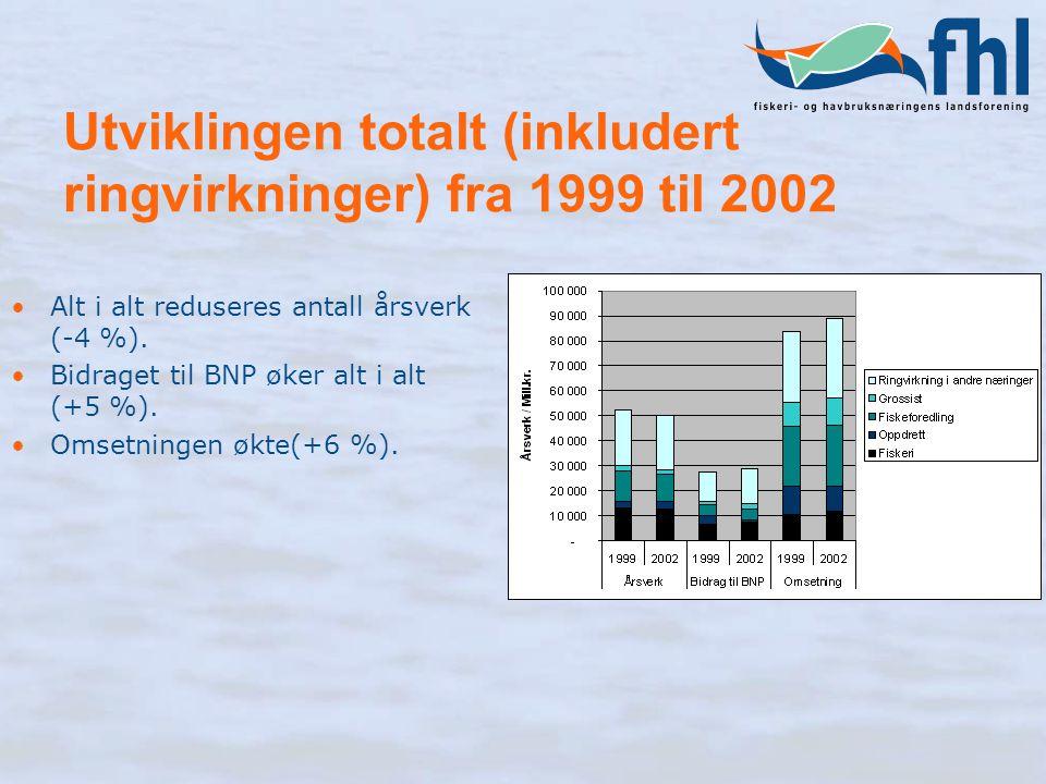 Utviklingen totalt (inkludert ringvirkninger) fra 1999 til 2002