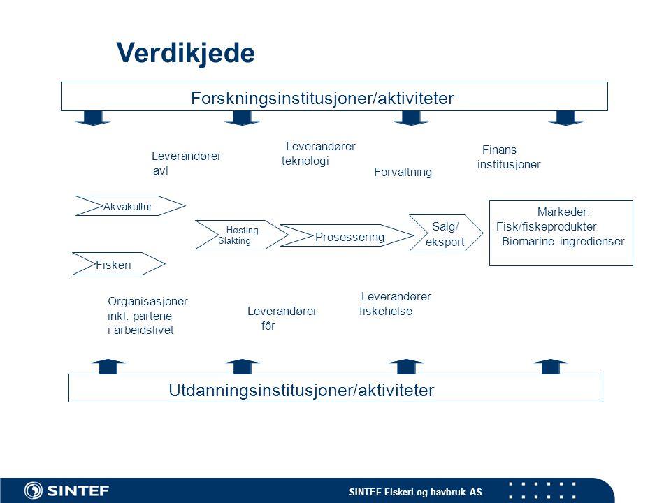 Verdikjede Forskningsinstitusjoner/aktiviteter