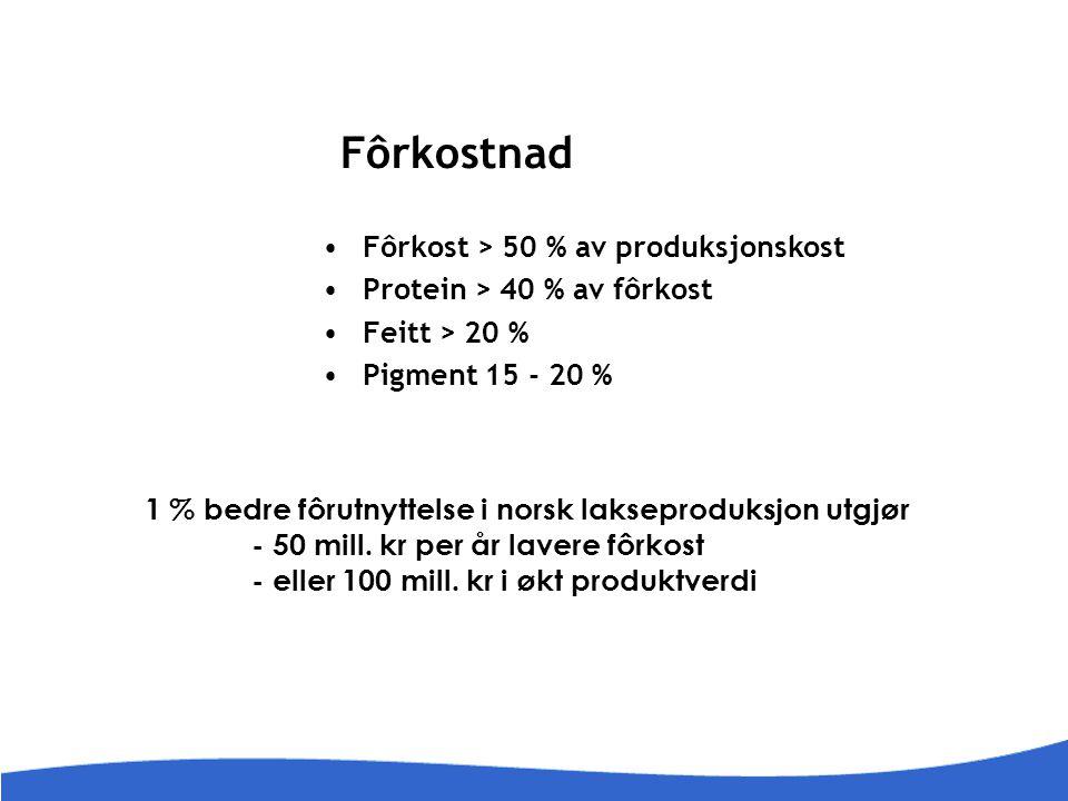 Fôrkostnad Fôrkost > 50 % av produksjonskost