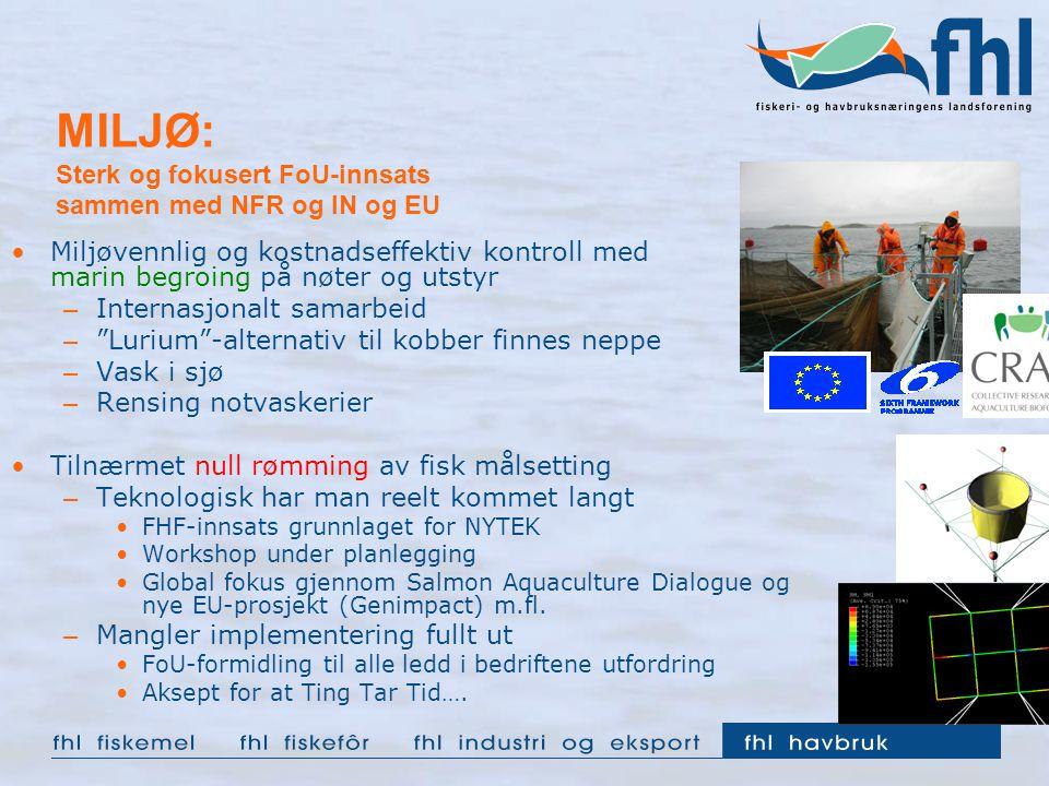 MILJØ: Sterk og fokusert FoU-innsats sammen med NFR og IN og EU