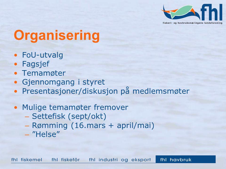 Organisering FoU-utvalg Fagsjef Temamøter Gjennomgang i styret