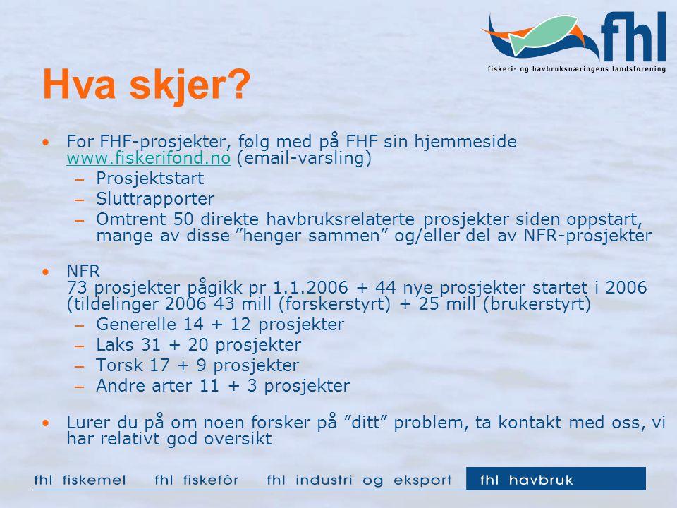 Hva skjer For FHF-prosjekter, følg med på FHF sin hjemmeside www.fiskerifond.no (email-varsling) Prosjektstart.