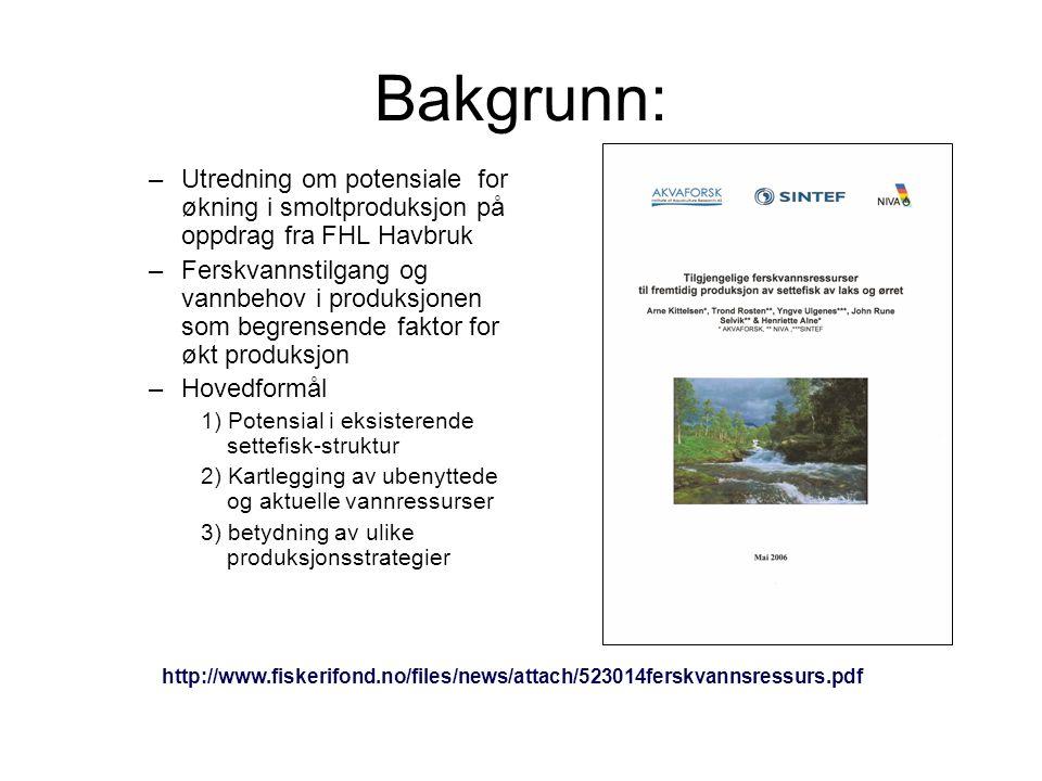 Bakgrunn: Utredning om potensiale for økning i smoltproduksjon på oppdrag fra FHL Havbruk.