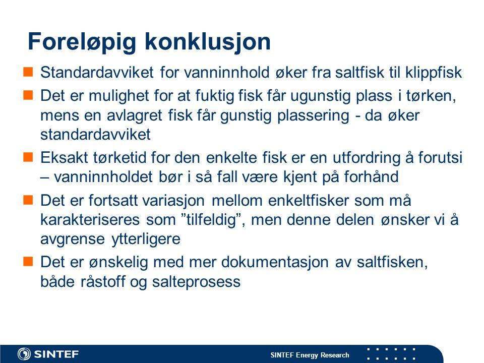 Foreløpig konklusjon Standardavviket for vanninnhold øker fra saltfisk til klippfisk.