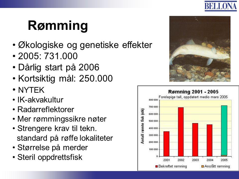 Rømming Økologiske og genetiske effekter 2005: 731.000