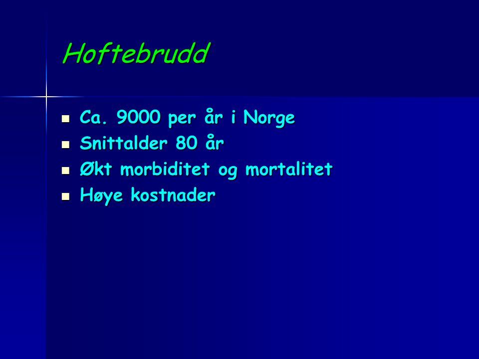 Hoftebrudd Ca. 9000 per år i Norge Snittalder 80 år