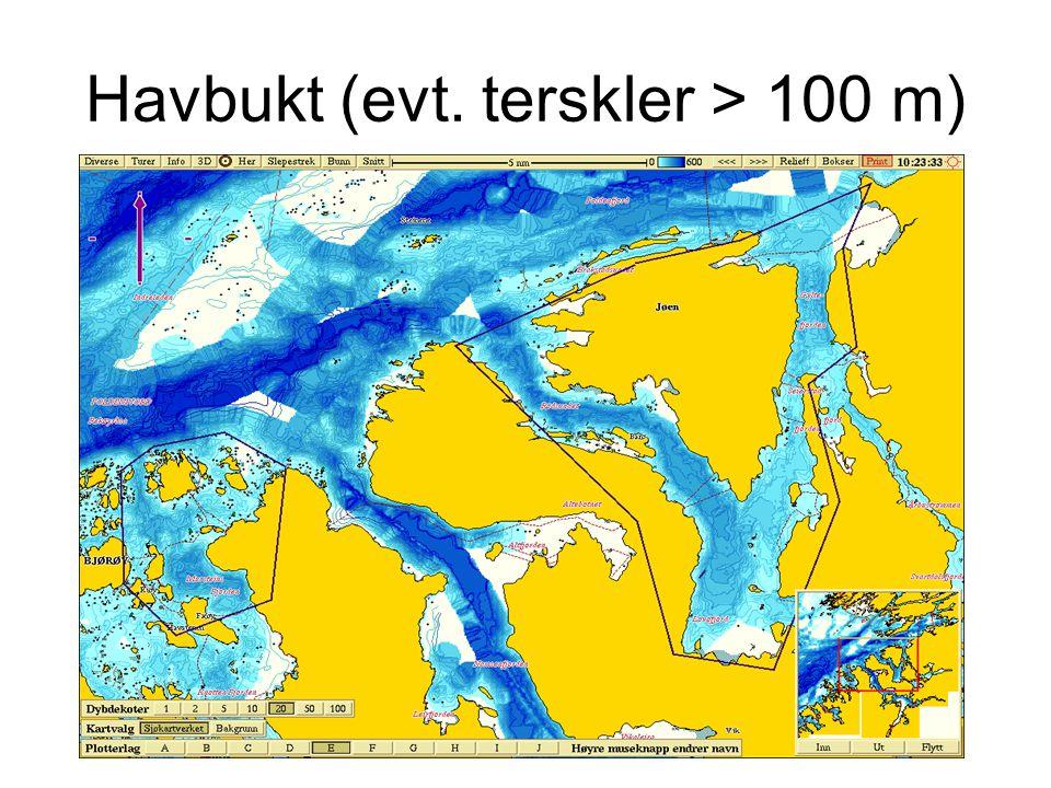 Havbukt (evt. terskler > 100 m)
