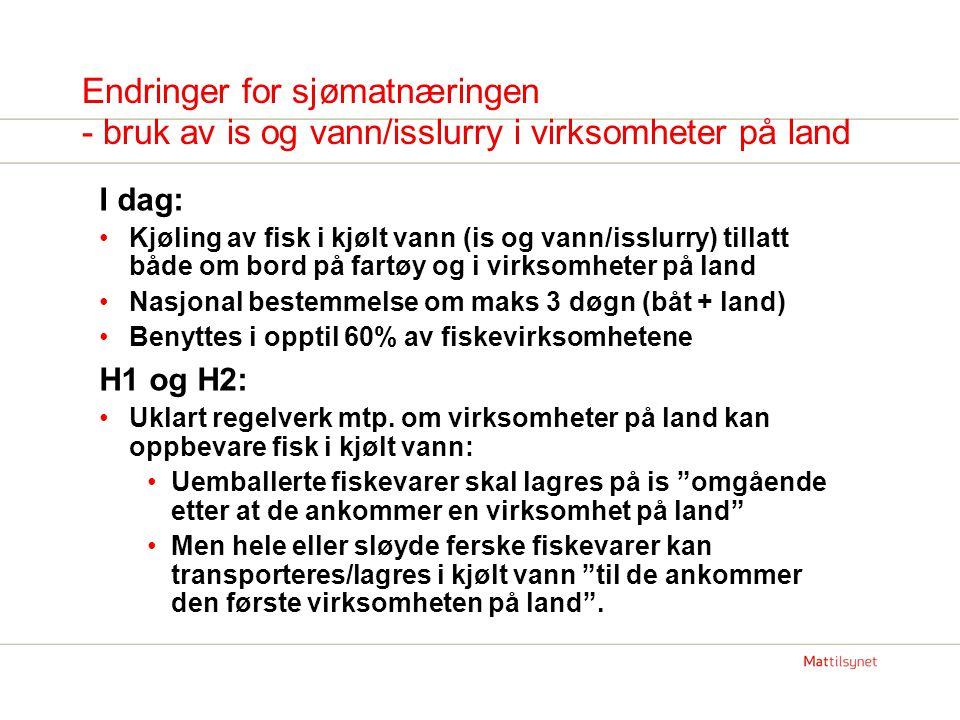Endringer for sjømatnæringen - bruk av is og vann/isslurry i virksomheter på land