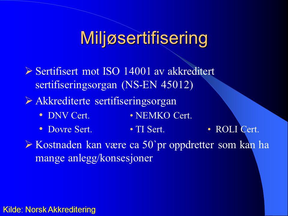 Miljøsertifisering Sertifisert mot ISO 14001 av akkreditert sertifiseringsorgan (NS-EN 45012) Akkrediterte sertifiseringsorgan.