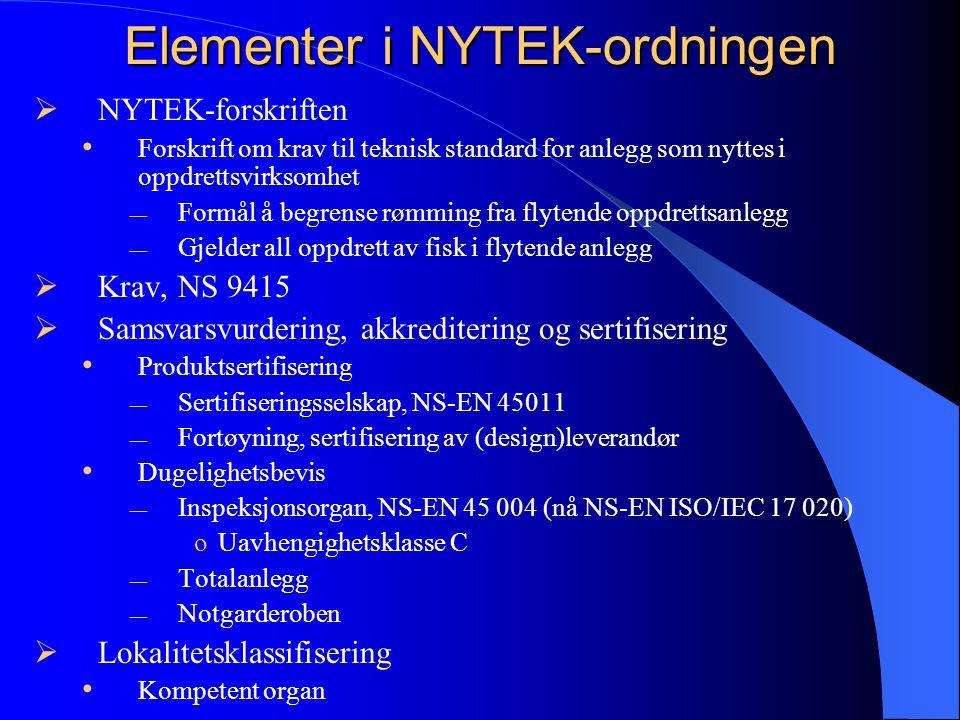 Elementer i NYTEK-ordningen