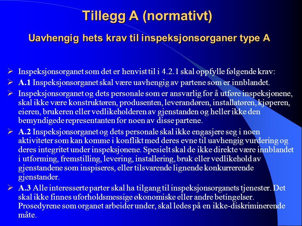 Tillegg A (normativt) Uavhengig hets krav til inspeksjonsorganer type A