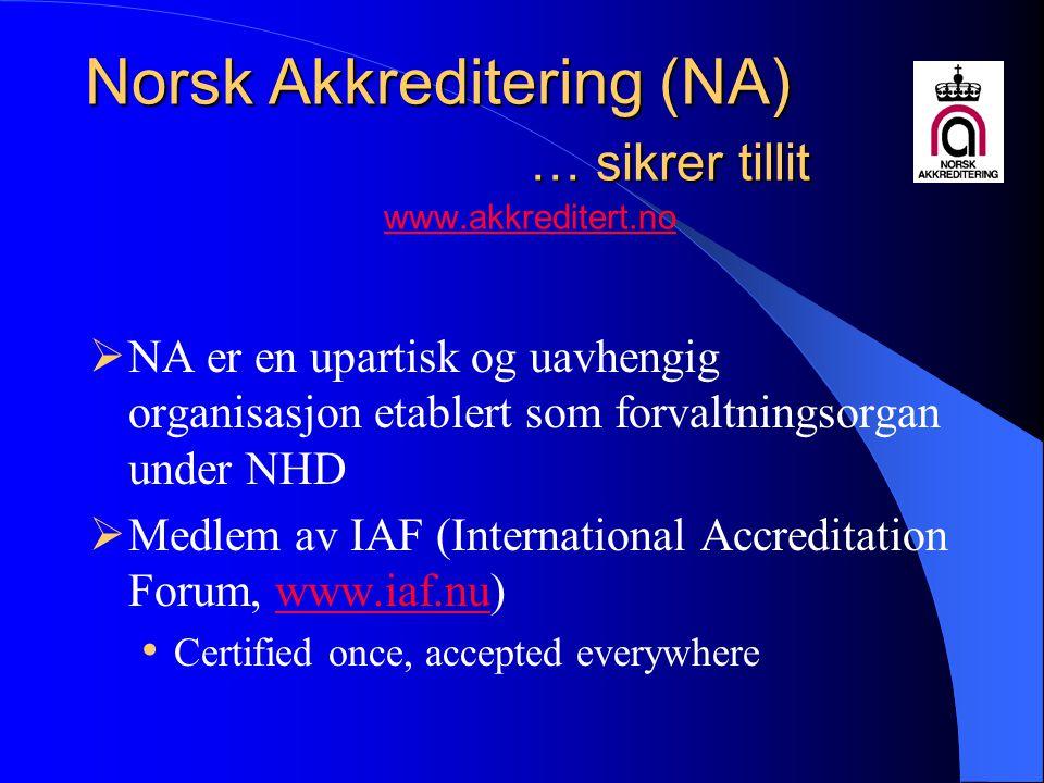 Norsk Akkreditering (NA) … sikrer tillit www.akkreditert.no
