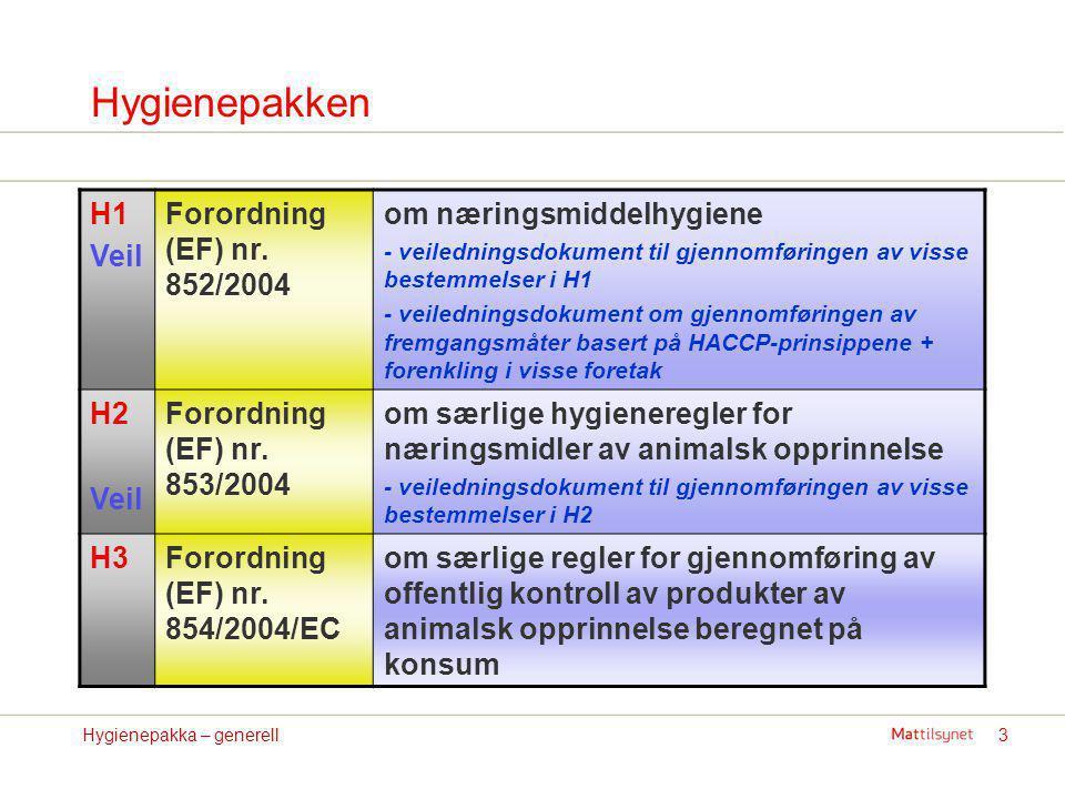 Hygienepakken H1 Veil Forordning (EF) nr. 852/2004