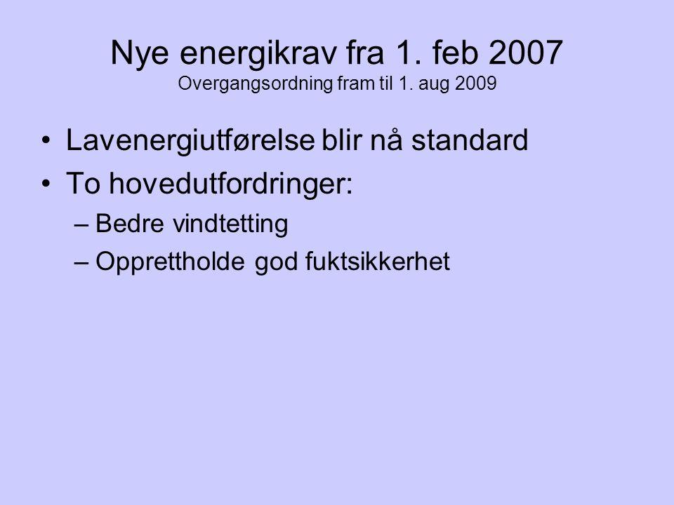 Nye energikrav fra 1. feb 2007 Overgangsordning fram til 1. aug 2009