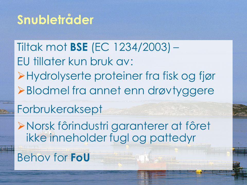 Snubletråder Tiltak mot BSE (EC 1234/2003) – EU tillater kun bruk av: