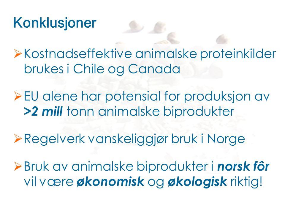 Konklusjoner Kostnadseffektive animalske proteinkilder brukes i Chile og Canada.