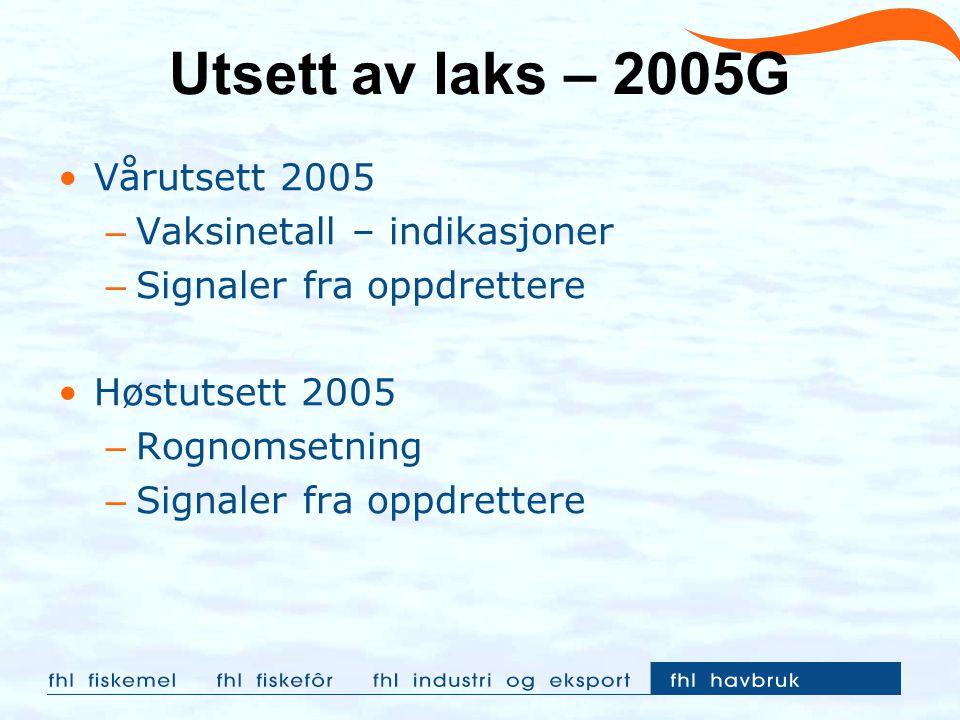 Utsett av laks – 2005G Vårutsett 2005 Vaksinetall – indikasjoner