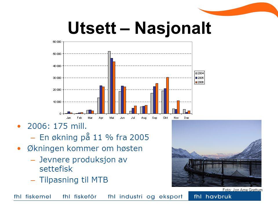 Utsett – Nasjonalt 2006: 175 mill. En økning på 11 % fra 2005