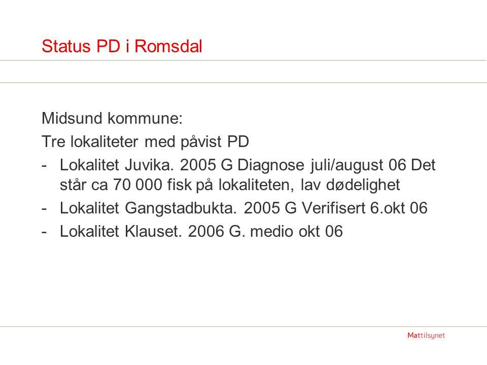 Status PD i Romsdal Midsund kommune: Tre lokaliteter med påvist PD