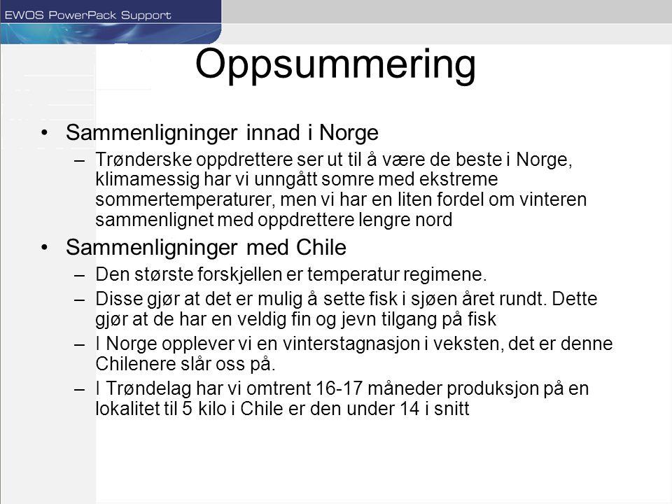 Oppsummering Sammenligninger innad i Norge Sammenligninger med Chile