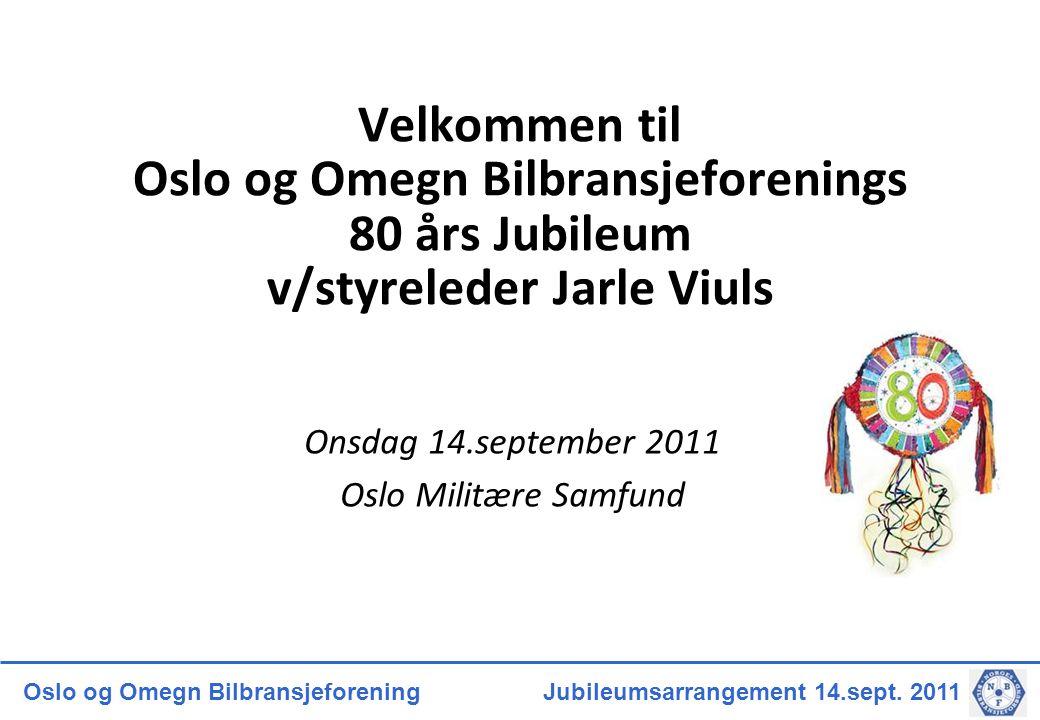 Velkommen til Oslo og Omegn Bilbransjeforenings 80 års Jubileum v/styreleder Jarle Viuls