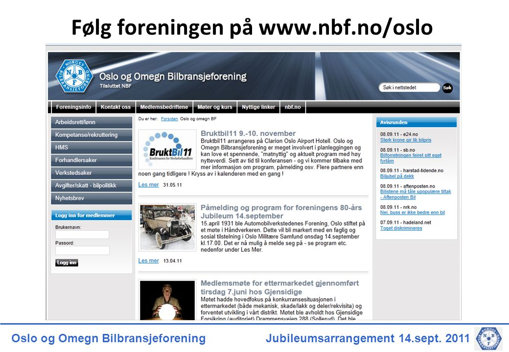 Følg foreningen på www.nbf.no/oslo